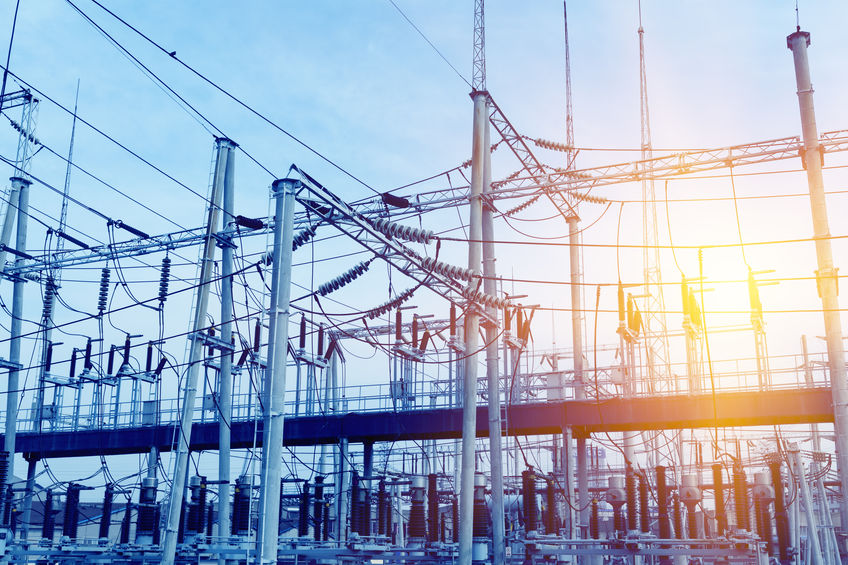High voltage electrical power transformer substation